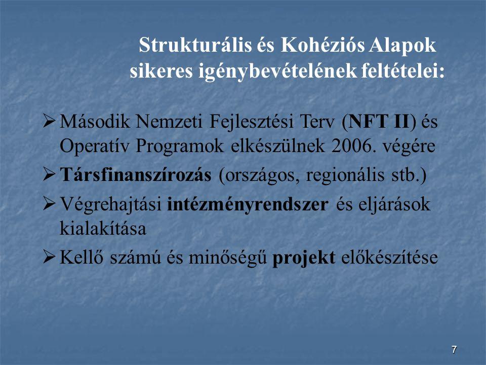 7 Strukturális és Kohéziós Alapok sikeres igénybevételének feltételei:  Második Nemzeti Fejlesztési Terv (NFT II) és Operatív Programok elkészülnek 2