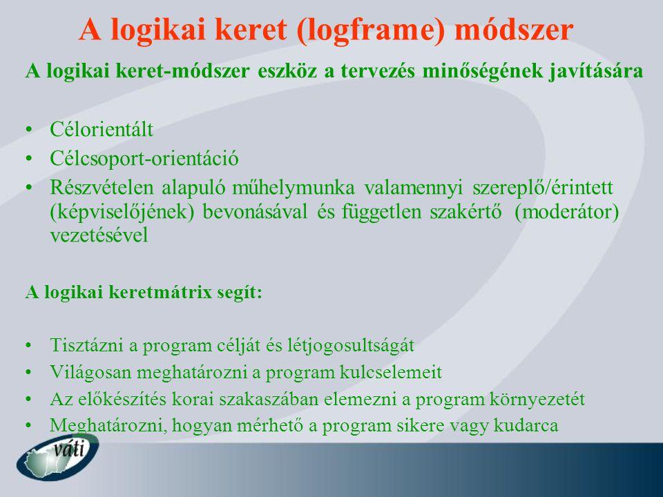 A logikai keret (logframe) módszer A logikai keret-módszer eszköz a tervezés minőségének javítására Célorientált Célcsoport-orientáció Részvételen alapuló műhelymunka valamennyi szereplő/érintett (képviselőjének) bevonásával és független szakértő (moderátor) vezetésével A logikai keretmátrix segít: Tisztázni a program célját és létjogosultságát Világosan meghatározni a program kulcselemeit Az előkészítés korai szakaszában elemezni a program környezetét Meghatározni, hogyan mérhető a program sikere vagy kudarca