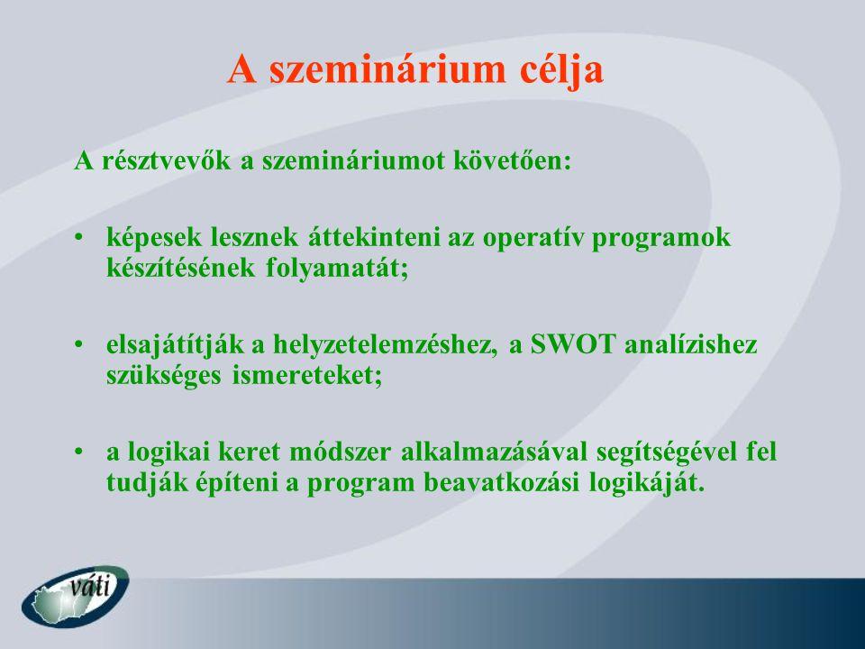 A szeminárium célja A résztvevők a szemináriumot követően: képesek lesznek áttekinteni az operatív programok készítésének folyamatát; elsajátítják a helyzetelemzéshez, a SWOT analízishez szükséges ismereteket; a logikai keret módszer alkalmazásával segítségével fel tudják építeni a program beavatkozási logikáját.