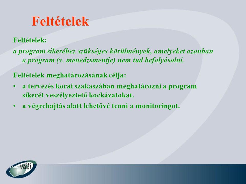 Feltételek Feltételek: a program sikeréhez szükséges körülmények, amelyeket azonban a program (v.