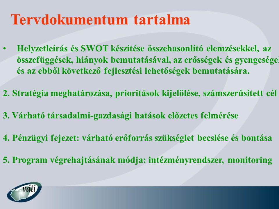 Tervdokumentum tartalma Helyzetleírás és SWOT készítése összehasonlító elemzésekkel, az összefüggések, hiányok bemutatásával, az erősségek és gyengeségek és az ebből következő fejlesztési lehetőségek bemutatására.