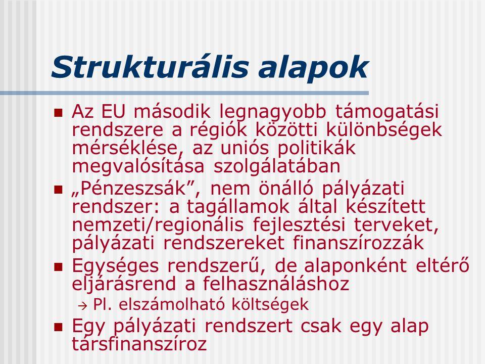 Strukturális alapok Az EU második legnagyobb támogatási rendszere a régiók közötti különbségek mérséklése, az uniós politikák megvalósítása szolgálatá