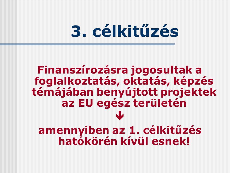 3. célkitűzés Finanszírozásra jogosultak a foglalkoztatás, oktatás, képzés témájában benyújtott projektek az EU egész területén  amennyiben az 1. cél