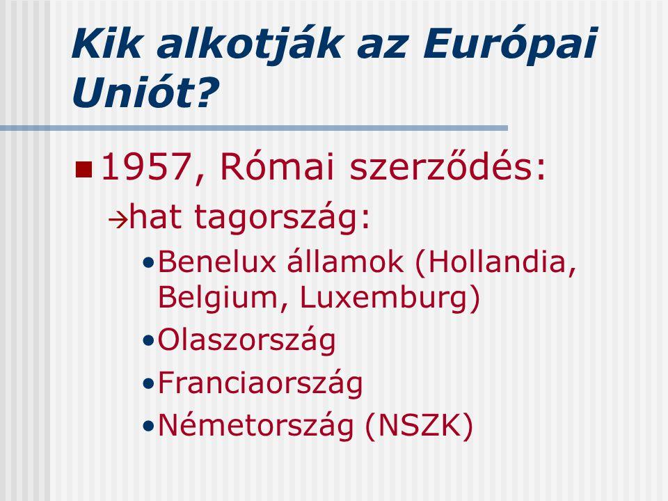 Kik alkotják az Európai Uniót? 1957, Római szerződés:  hat tagország: Benelux államok (Hollandia, Belgium, Luxemburg) Olaszország Franciaország Német