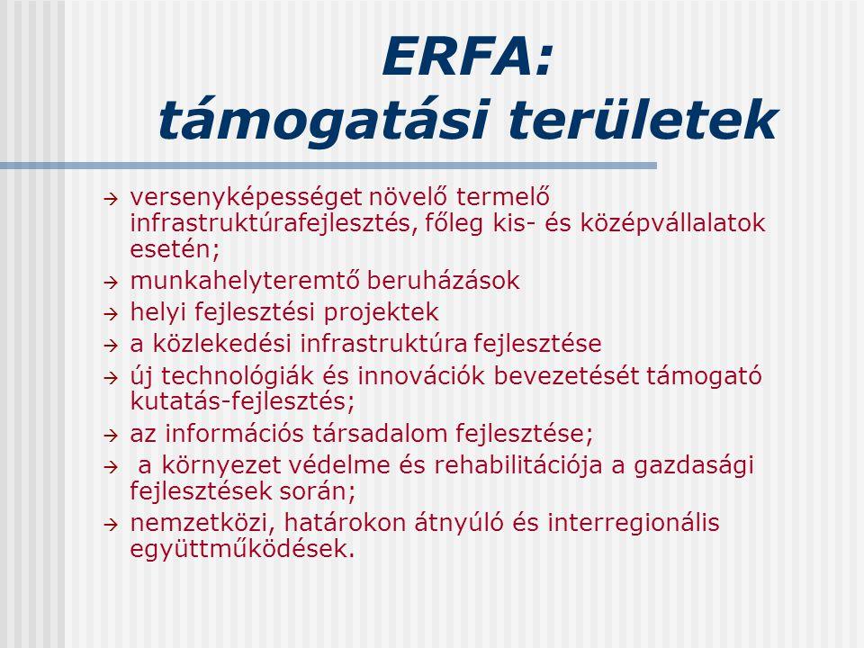 ERFA: támogatási területek  versenyképességet növelő termelő infrastruktúrafejlesztés, főleg kis- és középvállalatok esetén;  munkahelyteremtő beruh