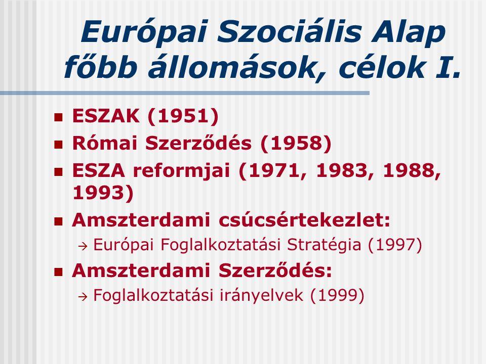 Európai Szociális Alap főbb állomások, célok I. ESZAK (1951) Római Szerződés (1958) ESZA reformjai (1971, 1983, 1988, 1993) Amszterdami csúcsértekezle