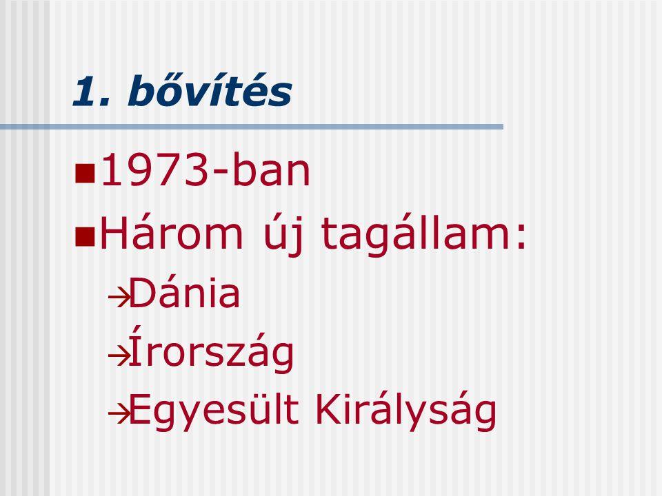 1. bővítés 1973-ban Három új tagállam:  Dánia  Írország  Egyesült Királyság