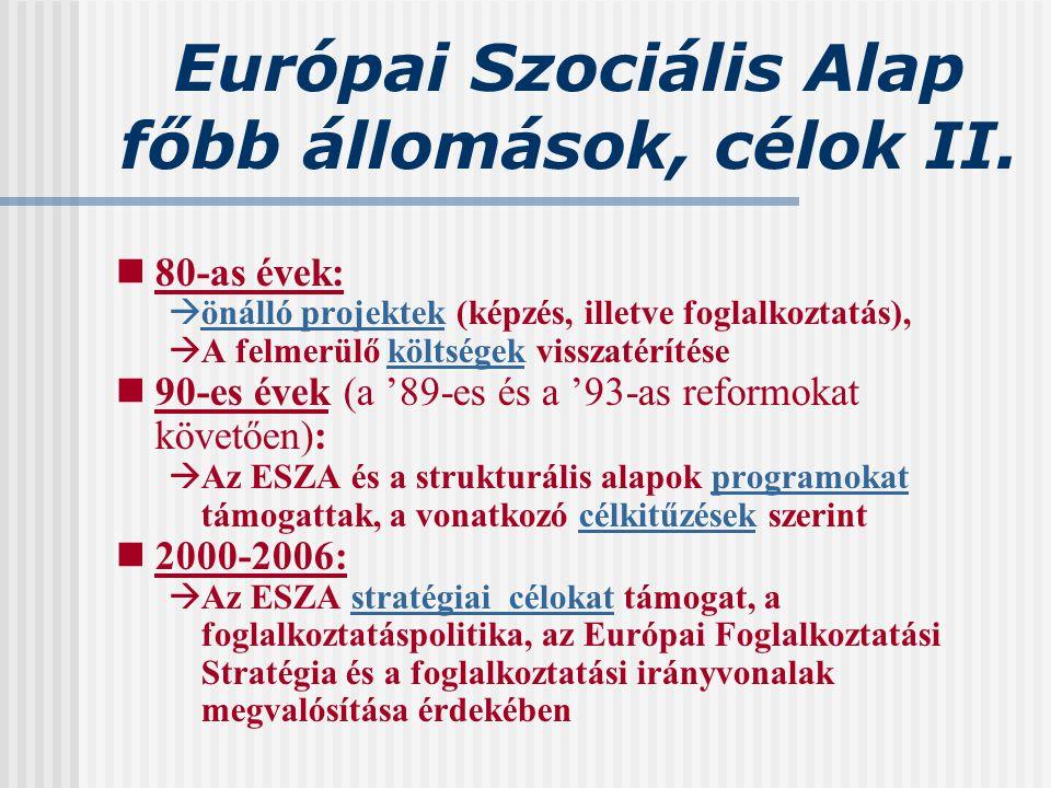 Európai Szociális Alap főbb állomások, célok II. 80-as évek:  önálló projektek (képzés, illetve foglalkoztatás),  A felmerülő költségek visszatéríté