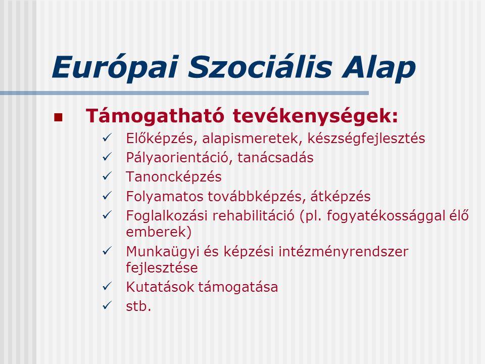 Európai Szociális Alap Támogatható tevékenységek: Előképzés, alapismeretek, készségfejlesztés Pályaorientáció, tanácsadás Tanoncképzés Folyamatos tová