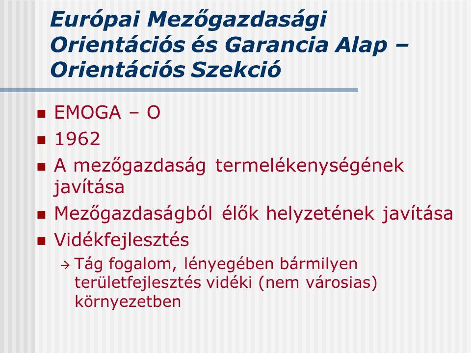 Európai Mezőgazdasági Orientációs és Garancia Alap – Orientációs Szekció EMOGA – O 1962 A mezőgazdaság termelékenységének javítása Mezőgazdaságból élő