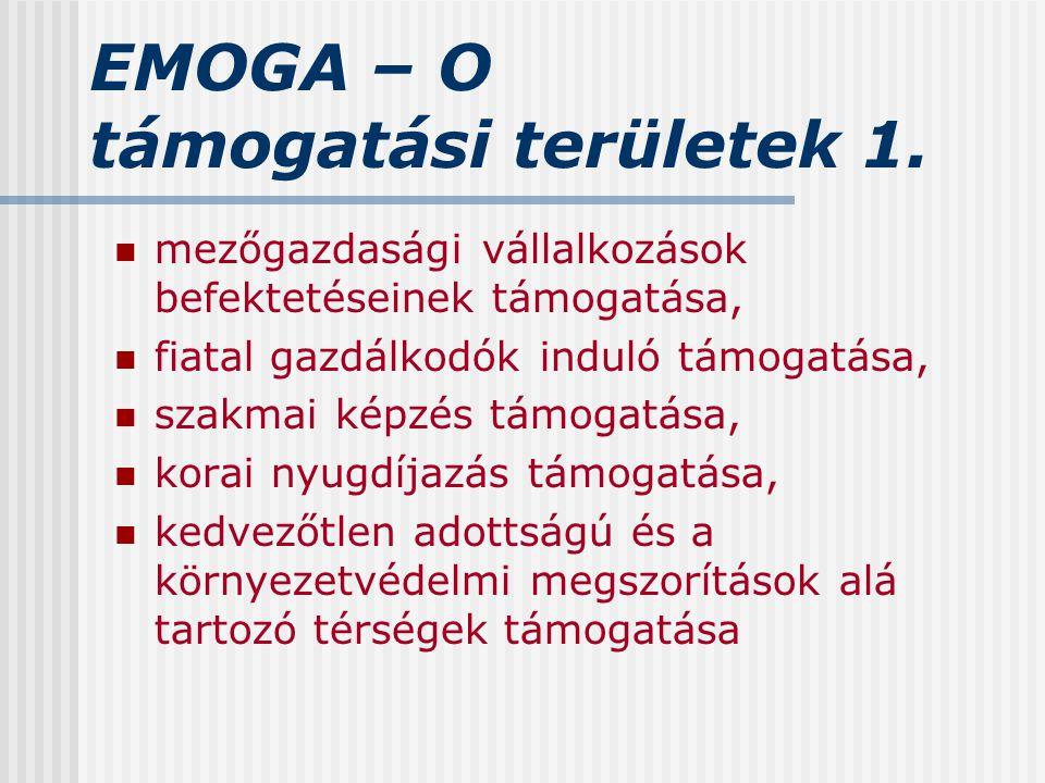 EMOGA – O támogatási területek 1. mezőgazdasági vállalkozások befektetéseinek támogatása, fiatal gazdálkodók induló támogatása, szakmai képzés támogat