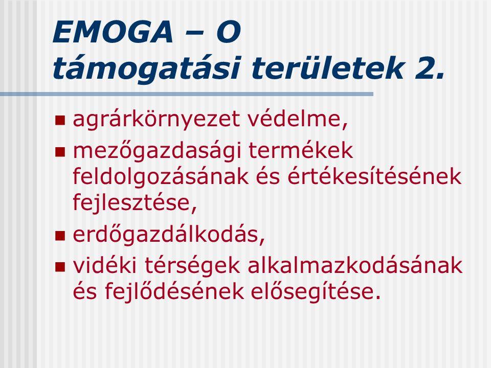 EMOGA – O támogatási területek 2. agrárkörnyezet védelme, mezőgazdasági termékek feldolgozásának és értékesítésének fejlesztése, erdőgazdálkodás, vidé