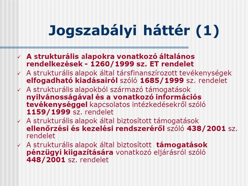 Jogszabályi háttér (1) A s trukturális a lapokra vonatkozó általános rendelkezések - 1260/1999 sz. ET rendelet A s trukturális a lapok által társfinan