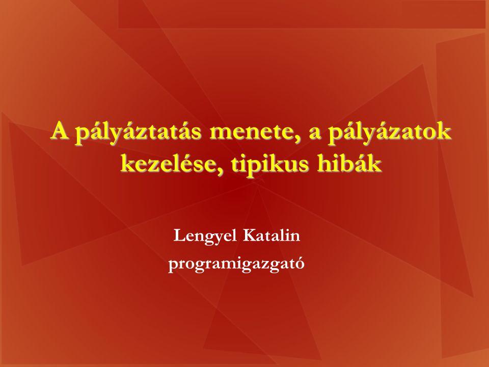A pályáztatás menete, a pályázatok kezelése, tipikus hibák Lengyel Katalin programigazgató