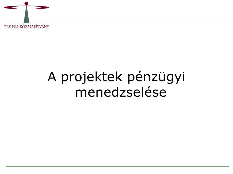 Tartalom 1.A pénzügyi menedzselés főbb eseményei 2.A folyamat tevékenységei 3.A projektfinanszírozás feladatai 4.A finanszírozás módjai 5.A támogatás 6.A támogatás folyósítása 7.Jelentések 8.Ellenőrzések 9.A pénzügyi végrehajtáshoz kapcsolódó főbb jogszabályok