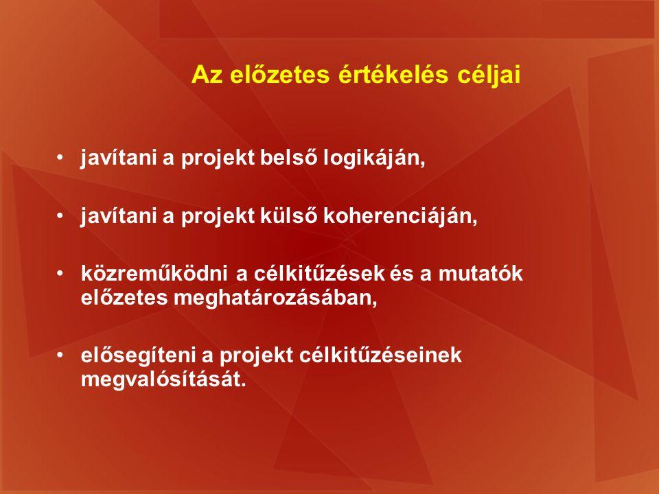 Az előzetes értékelés céljai javítani a projekt belső logikáján, javítani a projekt külső koherenciáján, közreműködni a célkitűzések és a mutatók előz
