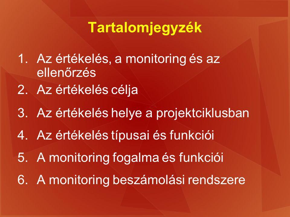 Tartalomjegyzék 1.Az értékelés, a monitoring és az ellenőrzés 2.Az értékelés célja 3.Az értékelés helye a projektciklusban 4.Az értékelés típusai és f