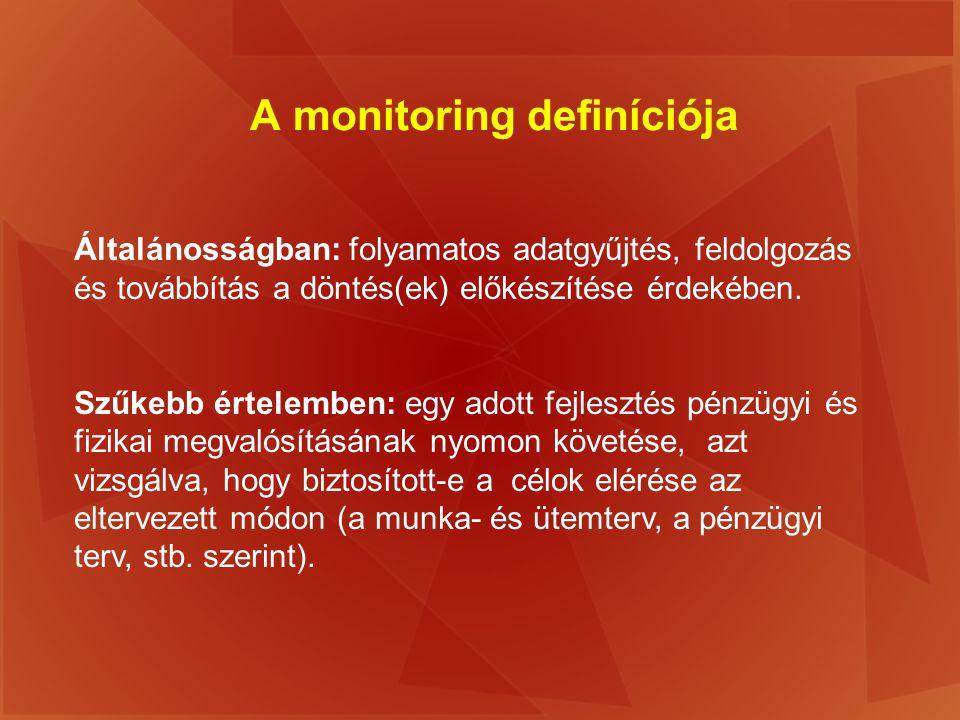 A monitoring definíciója Általánosságban: folyamatos adatgyűjtés, feldolgozás és továbbítás a döntés(ek) előkészítése érdekében. Szűkebb értelemben: e