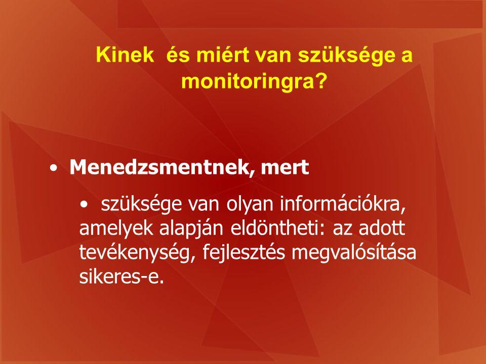 Kinek és miért van szüksége a monitoringra? Menedzsmentnek, mert szüksége van olyan információkra, amelyek alapján eldöntheti: az adott tevékenység, f