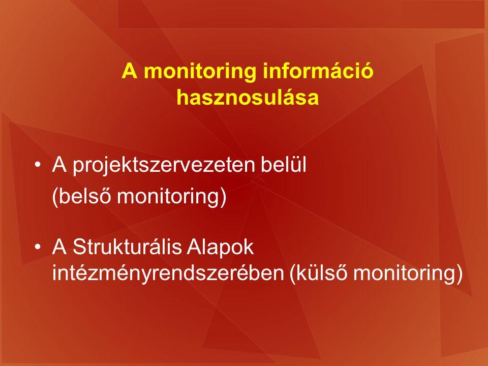 A monitoring információ hasznosulása A projektszervezeten belül (belső monitoring) A Strukturális Alapok intézményrendszerében (külső monitoring)