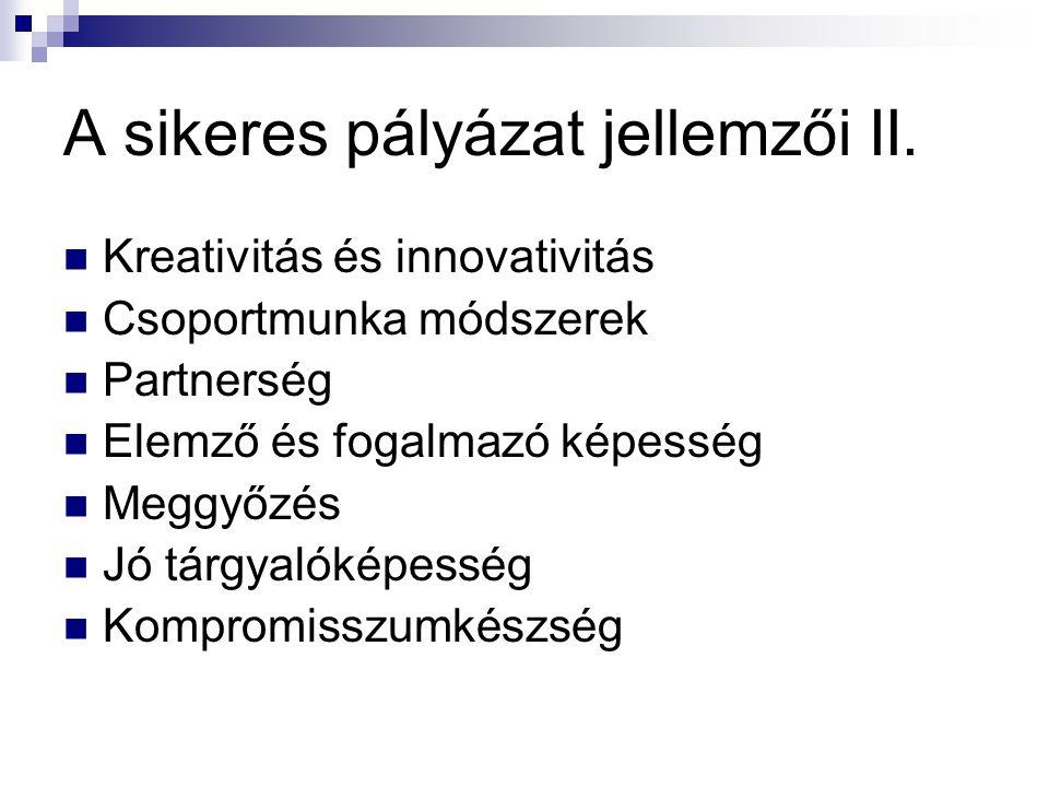 Kreativitás és innovativitás Csoportmunka módszerek Partnerség Elemző és fogalmazó képesség Meggyőzés Jó tárgyalóképesség Kompromisszumkészség A sikeres pályázat jellemzői II.