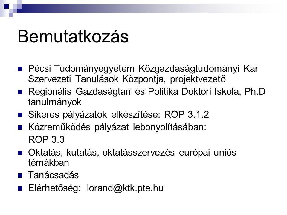Bemutatkozás Pécsi Tudományegyetem Közgazdaságtudományi Kar Szervezeti Tanulások Központja, projektvezető Regionális Gazdaságtan és Politika Doktori Iskola, Ph.D tanulmányok Sikeres pályázatok elkészítése: ROP 3.1.2 Közreműködés pályázat lebonyolításában: ROP 3.3 Oktatás, kutatás, oktatásszervezés európai uniós témákban Tanácsadás Elérhetőség: lorand@ktk.pte.hu