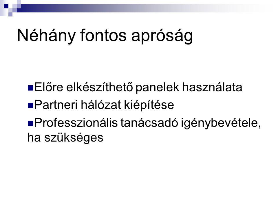 Néhány fontos apróság Előre elkészíthető panelek használata Partneri hálózat kiépítése Professzionális tanácsadó igénybevétele, ha szükséges