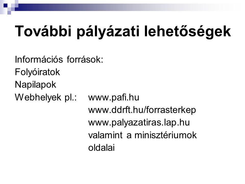 Információs források: Folyóiratok Napilapok Webhelyek pl.: www.pafi.hu www.ddrft.hu/forrasterkep www.palyazatiras.lap.hu valamint a minisztériumok oldalai További pályázati lehetőségek