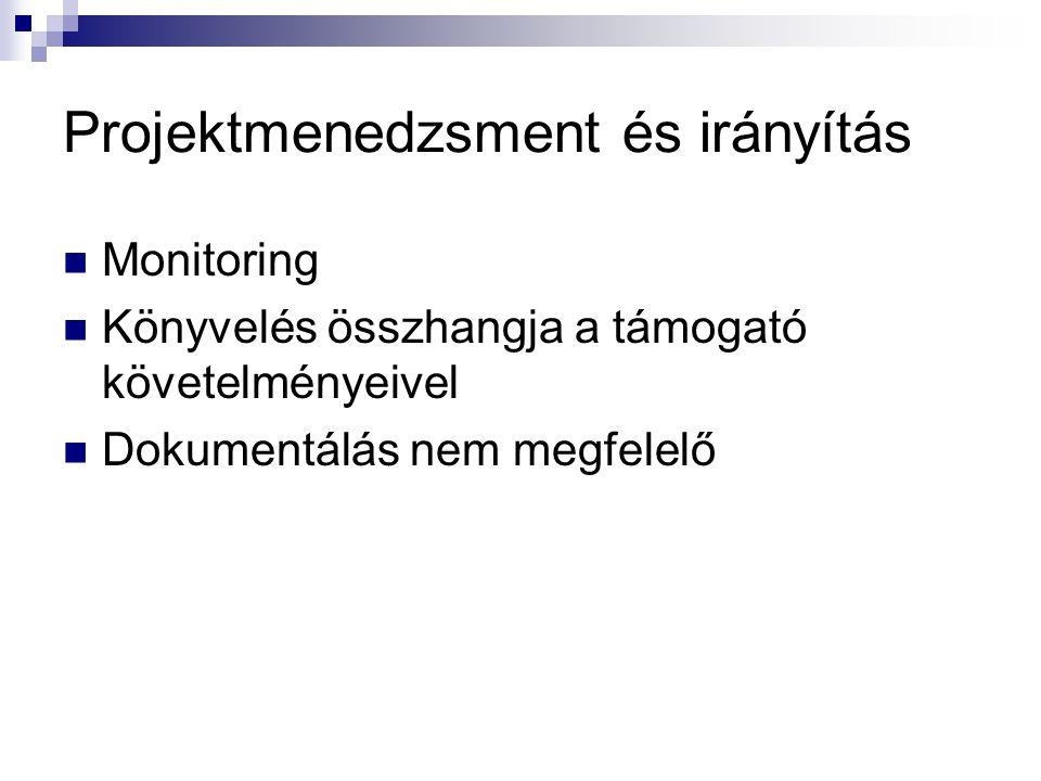 Projektmenedzsment és irányítás Monitoring Könyvelés összhangja a támogató követelményeivel Dokumentálás nem megfelelő