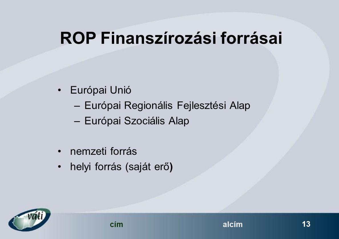 címalcím 13 ROP Finanszírozási forrásai Európai Unió –Európai Regionális Fejlesztési Alap –Európai Szociális Alap nemzeti forrás helyi forrás (saját erő)