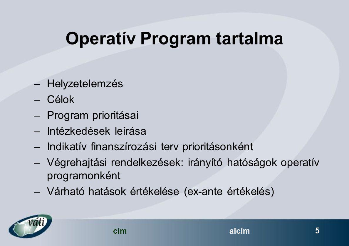 címalcím 5 Operatív Program tartalma –Helyzetelemzés –Célok –Program prioritásai –Intézkedések leírása –Indikatív finanszírozási terv prioritásonként –Végrehajtási rendelkezések: irányító hatóságok operatív programonként –Várható hatások értékelése (ex-ante értékelés)
