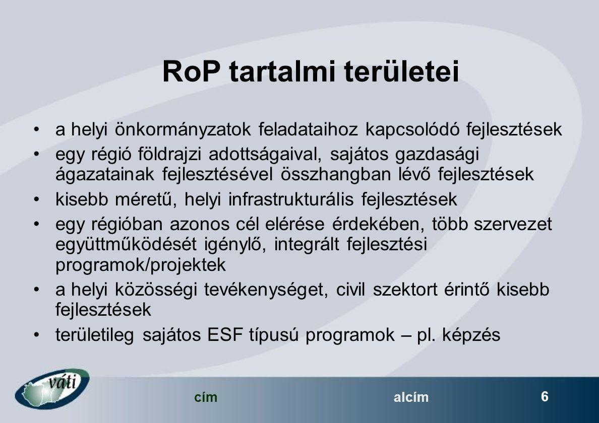 címalcím 6 RoP tartalmi területei a helyi önkormányzatok feladataihoz kapcsolódó fejlesztések egy régió földrajzi adottságaival, sajátos gazdasági ágazatainak fejlesztésével összhangban lévő fejlesztések kisebb méretű, helyi infrastrukturális fejlesztések egy régióban azonos cél elérése érdekében, több szervezet együttműködését igénylő, integrált fejlesztési programok/projektek a helyi közösségi tevékenységet, civil szektort érintő kisebb fejlesztések területileg sajátos ESF típusú programok – pl.