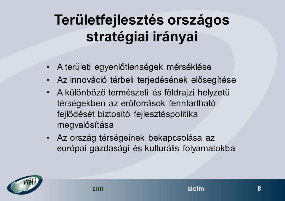 címalcím 8 Területfejlesztés országos stratégiai irányai A területi egyenlőtlenségek mérséklése Az innováció térbeli terjedésének elősegítése A különböző természeti és földrajzi helyzetű térségekben az erőforrások fenntartható fejlődését biztosító fejlesztéspolitika megvalósítása Az ország térségeinek bekapcsolása az európai gazdasági és kulturális folyamatokba