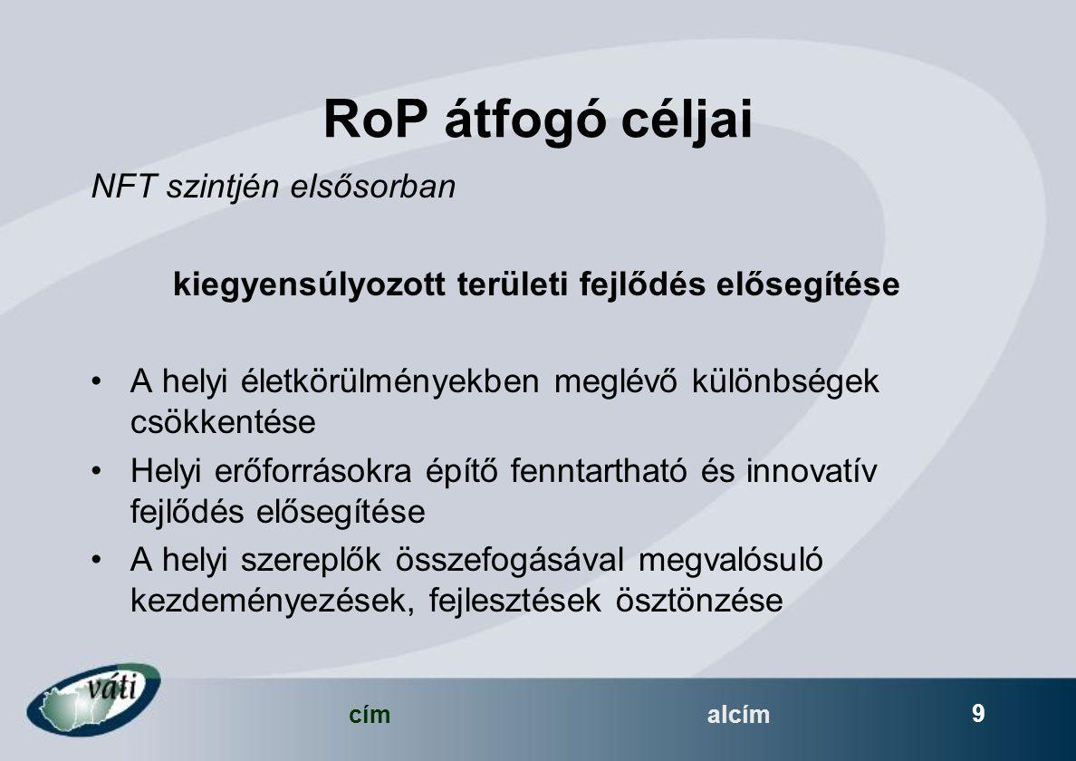 címalcím 9 RoP átfogó céljai NFT szintjén elsősorban kiegyensúlyozott területi fejlődés elősegítése A helyi életkörülményekben meglévő különbségek csökkentése Helyi erőforrásokra építő fenntartható és innovatív fejlődés elősegítése A helyi szereplők összefogásával megvalósuló kezdeményezések, fejlesztések ösztönzése