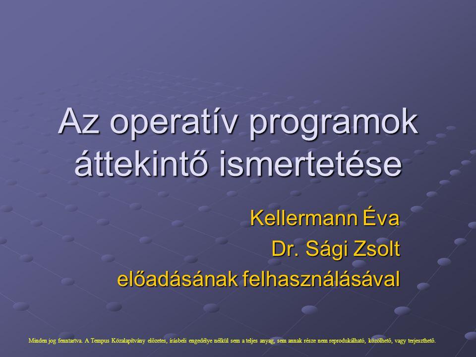 Kellermann Éva Dr. Sági Zsolt előadásának felhasználásával Az operatív programok áttekintő ismertetése Minden jog fenntartva. A Tempus Közalapítvány e
