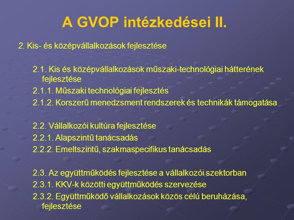 A GVOP intézkedései II. 2. Kis- és középvállalkozások fejlesztése 2.1. Kis és középvállalkozások műszaki-technológiai hátterének fejlesztése 2.1.1. Mű