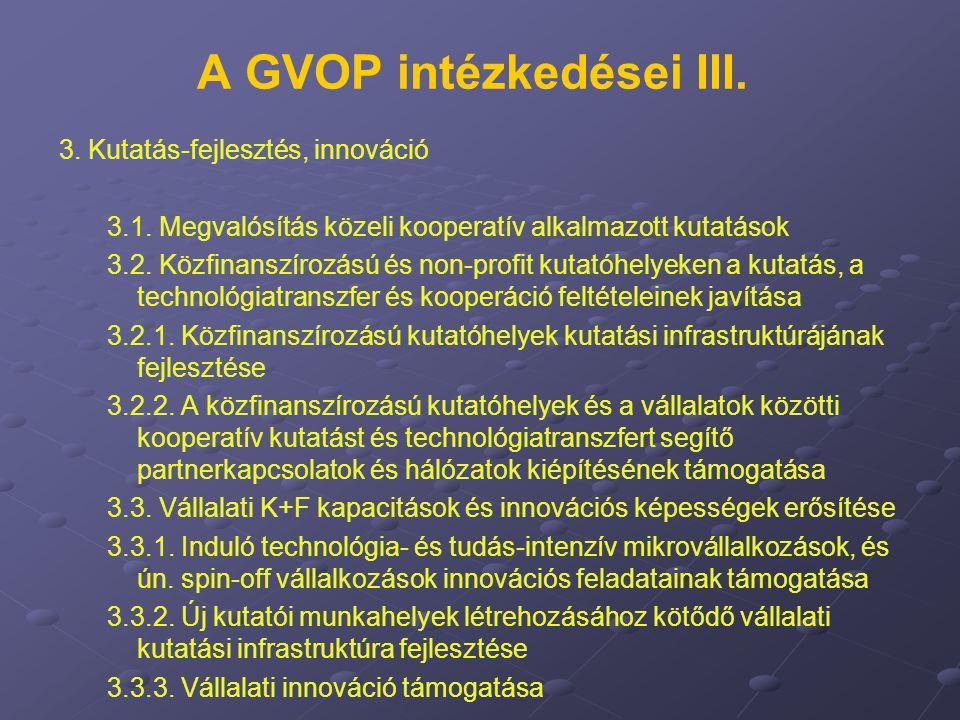 A GVOP intézkedései III. 3. Kutatás-fejlesztés, innováció 3.1. Megvalósítás közeli kooperatív alkalmazott kutatások 3.2. Közfinanszírozású és non-prof