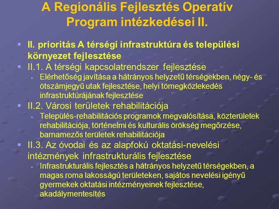 A Regionális Fejlesztés Operatív Program intézkedései II.   II. prioritás A térségi infrastruktúra és települési környezet fejlesztése   II.1. A t