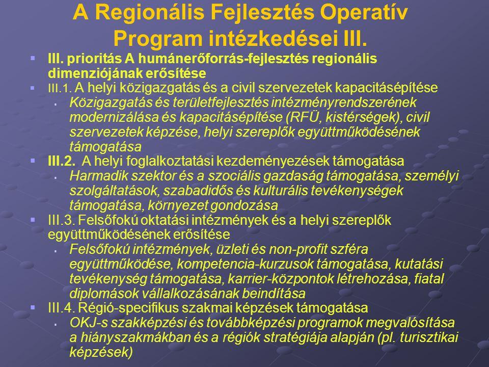 A Regionális Fejlesztés Operatív Program intézkedései III.   III. prioritás A humánerőforrás-fejlesztés regionális dimenziójának erősítése   III.1
