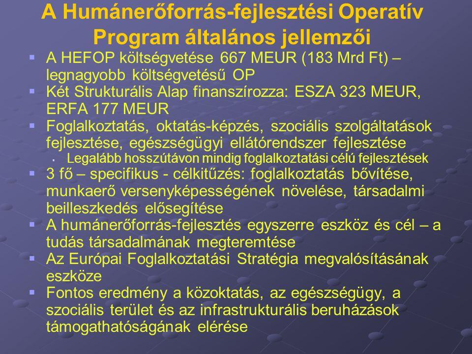 A Humánerőforrás-fejlesztési Operatív Program általános jellemzői   A HEFOP költségvetése 667 MEUR (183 Mrd Ft) – legnagyobb költségvetésű OP   Ké