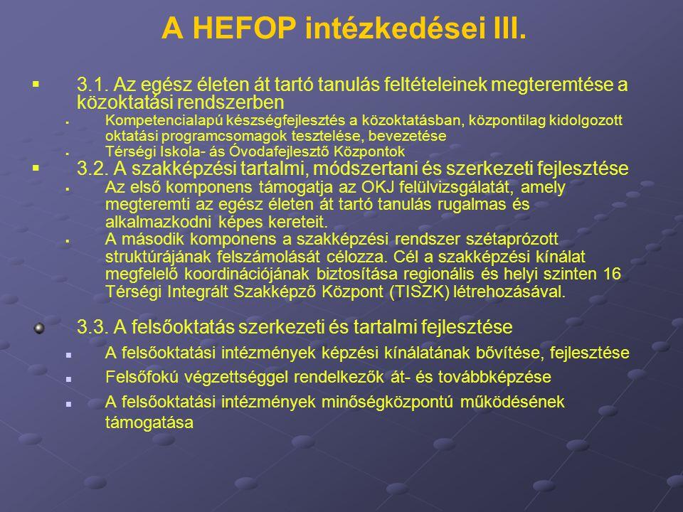 A HEFOP intézkedései III.   3.1. Az egész életen át tartó tanulás feltételeinek megteremtése a közoktatási rendszerben   Kompetencialapú készségfe