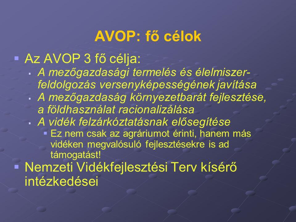 AVOP: fő célok   Az AVOP 3 fő célja:   A mezőgazdasági termelés és élelmiszer- feldolgozás versenyképességének javítása   A mezőgazdaság környez