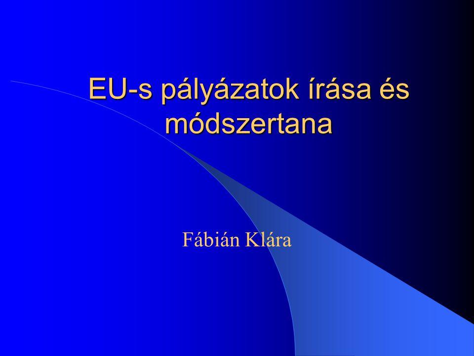 EU-s pályázatok írása és módszertana Fábián Klára