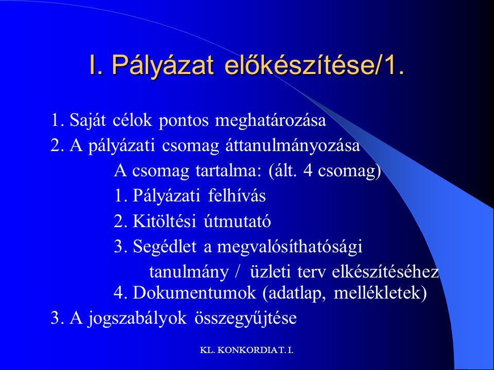 KL.KONKORDIA T. I. I. Pályázat előkészítése/1. 1.