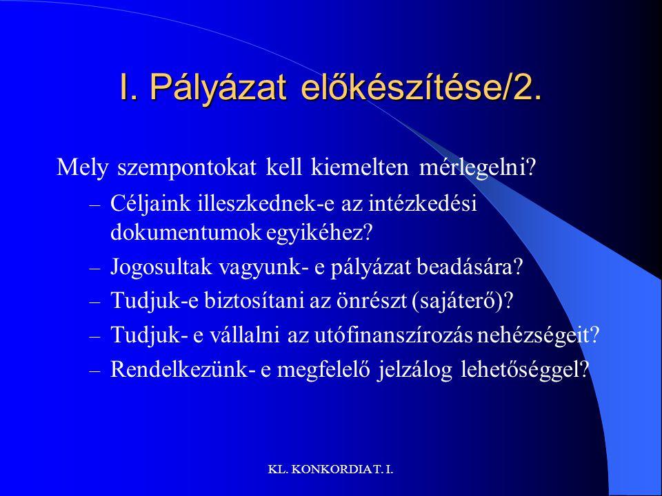 KL.KONKORDIA T. I. I. Pályázat előkészítése/2. Mely szempontokat kell kiemelten mérlegelni.
