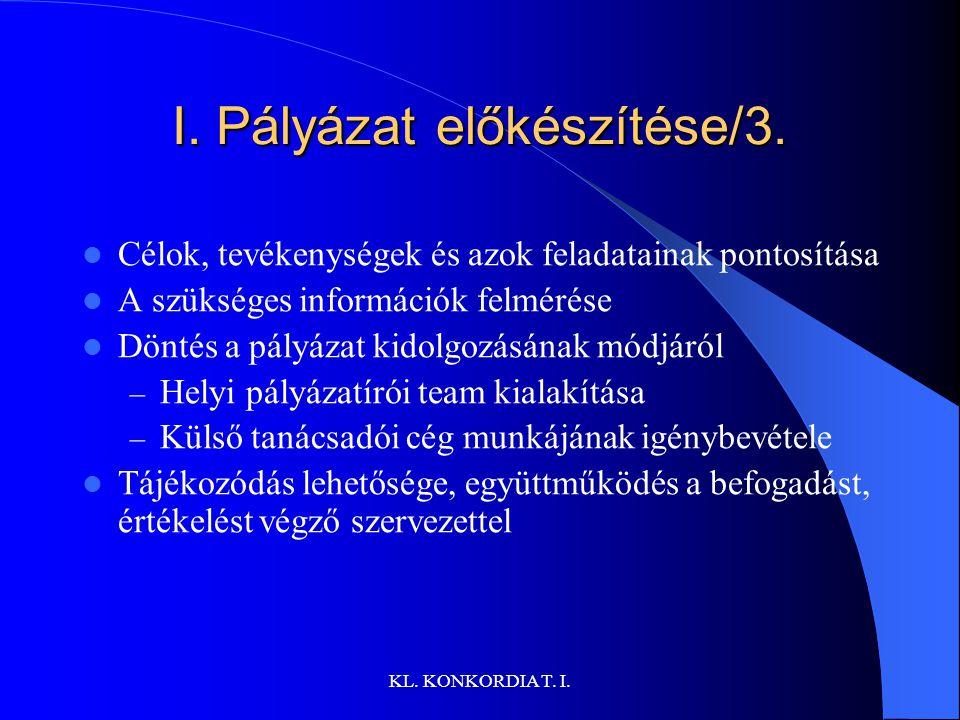 KL.KONKORDIA T. I. I. Pályázat előkészítése/3.