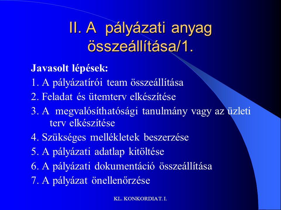 KL.KONKORDIA T. I. II. A pályázati anyag összeállítása/1.