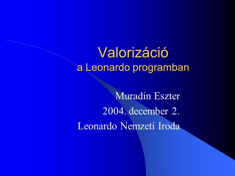 Valorizáció a Leonardo programban Muradin Eszter 2004. december 2. Leonardo Nemzeti Iroda