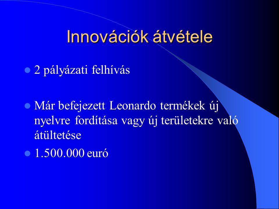 Innovációk átvétele 2 pályázati felhívás Már befejezett Leonardo termékek új nyelvre fordítása vagy új területekre való átültetése 1.500.000 euró