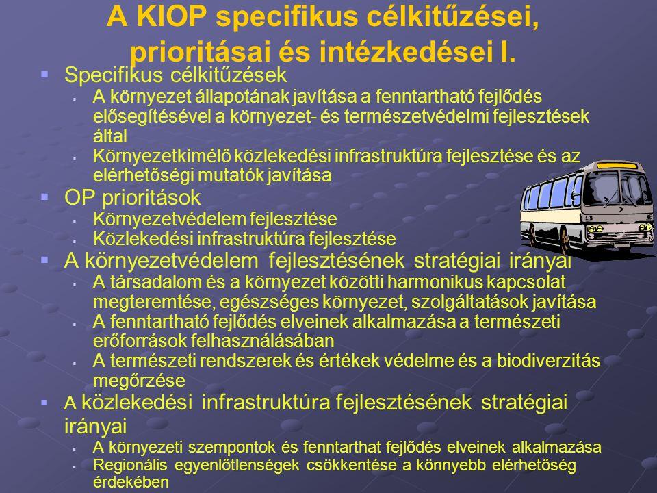 A KIOP specifikus célkitűzései, prioritásai és intézkedései I.   Specifikus célkitűzések   A környezet állapotának javítása a fenntartható fejlődé
